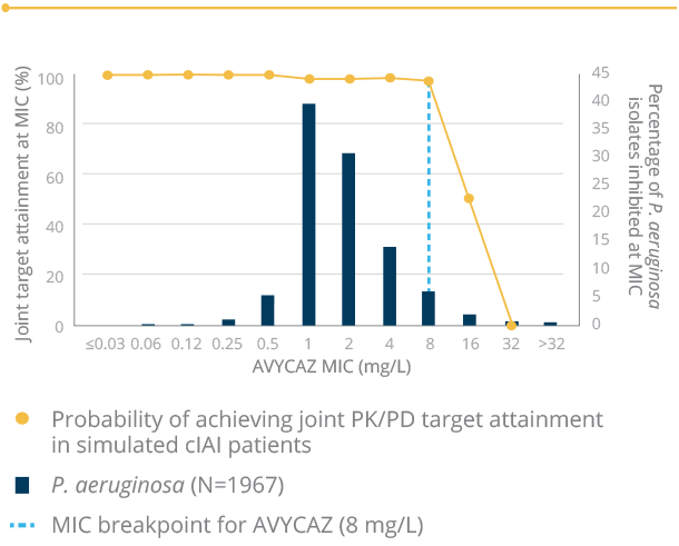 Line graph demonstrating PK/PD target data for Enterobacteriaceae and P.Aeruginosa