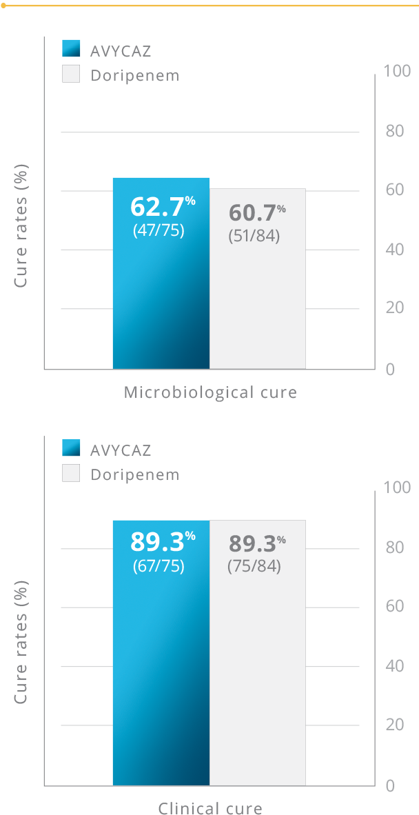 Chart showing RECAPTURE microbiological and clinical cure rates at TOC